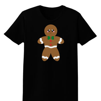 Cute Gingerbread Man Christmas Womens Dark T-Shirt