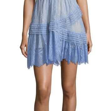Off Shoulder Blue Lace Mini Dress