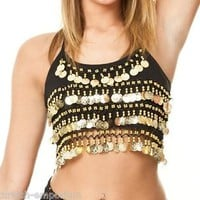Camisole Halter Top Belly Dance Coin Top spaghetti strap Crop Bra BH Costume UK