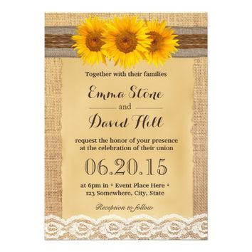Country Sunflowers Twine & Burlap Ribbon Wedding