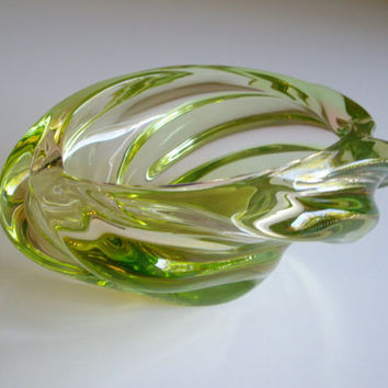 Vintage Art Glass Bowl - Skrdlovice Czech Glass 'Andromeda' Bowl by J. Beranek - Uranium Bowl or Ashtray