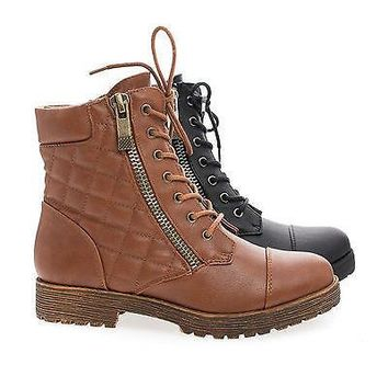 Rugged03 Chestnut By Bamboo, Lace Up Quilted Faux Wooden Heel Military Ankle Boots