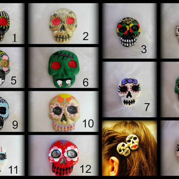 Pick any TWO skulls for Hair Clip 22 skulls to choose from Haunted Hair Candy