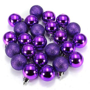 VONE2B5 24Pcs Chic Christmas Baubles Tree Plain Glitter Chrismas Day Ornament Ball Decoration