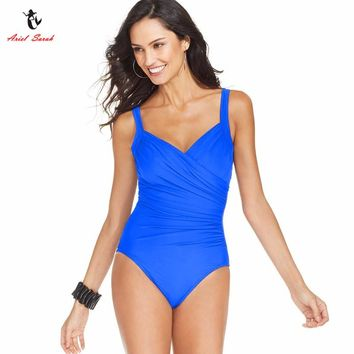 Plus Size Swimwear Solid Large Size One Piece Swimsuit Bathing Suit Women Sexy