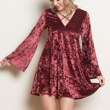 Velvet Babydoll Shift Dress