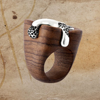 Wonderful ROCK and LAVA Cool Wooden Ring With Sterling Silver, Express Your Lava of Love, Effective Sterling Silver Ring Wood Ring