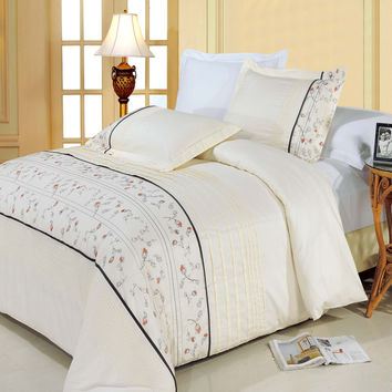 Anna Egyptian cotton Embroidered Duvet Cover Set