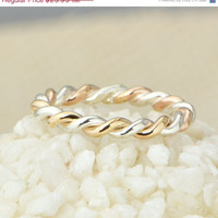 Back To School Sale Two Toned Twist Ring - Stacker Ring - Thumb Ring - Gold Filled - Argentium Sterling Silver - Handmade