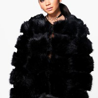 Jasmine Faux Fur Panelled Jacket | Boohoo
