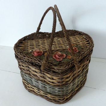 Rare Antique French Heart Shaped Gathering Basket