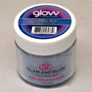 Glam and Glits GLOW ACRYLIC Glow in the Dark Nail Powder 2039 Lighting Blue