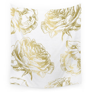 Society6 Roses Gold Wall Tapestry