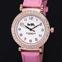 """COACH"" Hot Sale Fashion Women Men Diamond Movement Quartz Watch Wristwatch Pink"