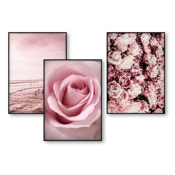 Poster Art Blush Pink Flower Beach Decor Scandinavian Art Posters and Prints Wall Art Canvas Print Wall Picture for Living Room