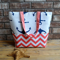 Anchor and Chevron Mixed Tote Bag