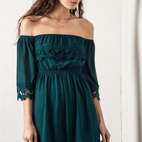Nymph's Prance Off Shoulder Lace Dress in Forest Green | Sincerely Sweet Boutique