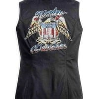 Harley-Davidson Women's Sleeveless Zip Front Woven Shirt. 98049-12VW