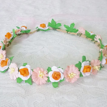 Small flower crown Orange tone peach flower headpiece mini rose crown rose size 20 mm. carnation crown Flower hair wreaths