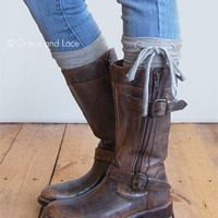 GRACE & LACE: Jersey Tie Boot Cuffs - Grey