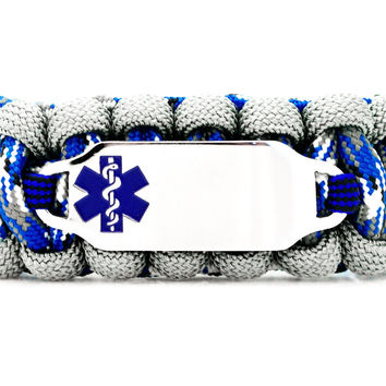 550 Paracord Bracelet with Engraved Stainless Steel Medical Alert ID Tag - Blue Rectangle
