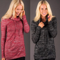 Solid Color High-Necked Pocket Long-Sleeved T-Shirt