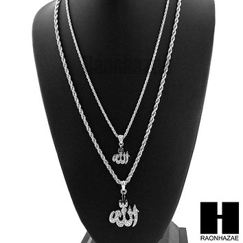 "MENS ICED OUT MUSLIM ALLAH MUHAMMAD PENDANT W/ 22"" 26"" ROPE CHAIN NECKLACE SET26"