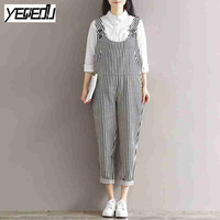 #0337 2017 Spring summer Vintage Striped jumpsuit women Fashion Overalls for women Loose Large size Body feminino Retro