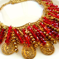 Game of Thrones Melisandre Red Woman Statement Necklace Gold Coins Red Crystal Hand Beading Golden Skeleton Keys Festival Bohemian Boho Chic