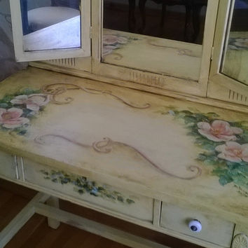 MADE TO ORDER Hand Painted Antique Vanity Tri Fold Mirror Heirloom Makeup Table Whimsical Funky Original Fine Art