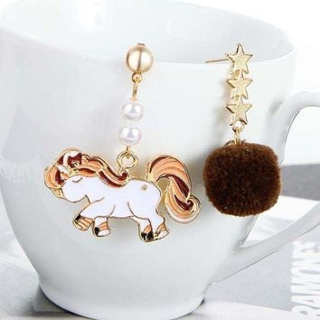Enamel Unicorn Star Hair Ball Asymmetric Drop Earrings
