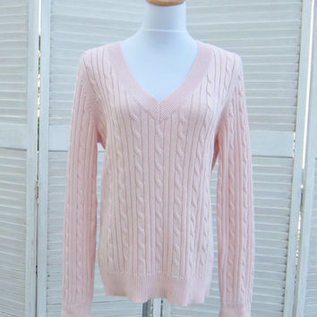 Vintage Pink V Neck Sweater Cotton Cable Knit Pale Pink Sweater Womens XL Pullover Chaps