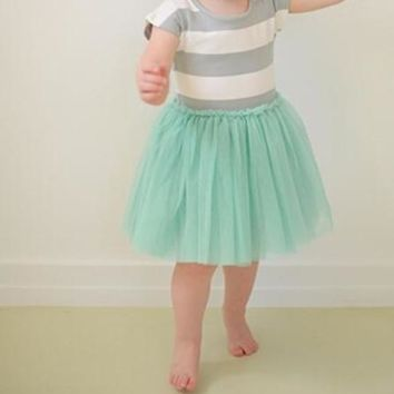 Little Baby Toddler Girls Grey Striped Top and Mint Tulle Skirt Dress Set 2T to 6