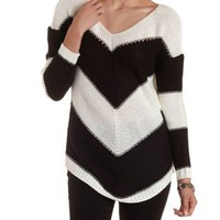 Black/Ivory Chevron Stripe Pullover Sweater by Charlotte Russe