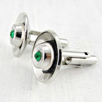 Vintage Designer HICKOK Cuff-Links, Silver Bullet Cuff-Links, Emerald Green Crystal Cuff-Links, 1960s Unique Cool Mens Jewelry, Gift for Guy