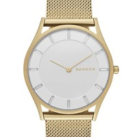 Women's Skagen 'Holst' Mesh Strap Watch, 34mm - Gold/ Silver