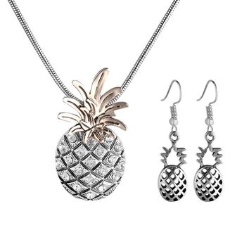 Fashion Personality Plant Pineapple Pendants Necklace Female Silver Jewelry Vintage Punk Necklace For Women