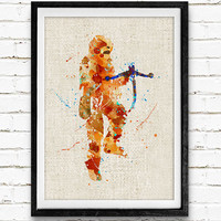 Star Wars Chewbacca Watercolor Poster Print, Han Solo Watercolor Print, Boys Room Wall Art, Home Decor, Not Framed, Buy 2 Get 1 Free!
