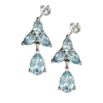 Sterling Silver Blue Topaz Flower Earrings with Teardrop Dangle