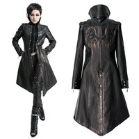 Women Black Metallic Rust Gothic Vampire Long Jackets Windbreakers SKU-11401210