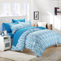 Selina Blue 3 Piece Embroidery Duvet Cover & Pillow Shams Set