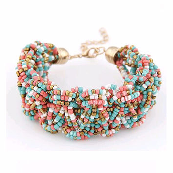 New Bohemia Retro Bracelet For Women Pure Handmade Bead Multicolor Charm Vintage Cuff Bracelets & Bangles Fine Jewelry 2016