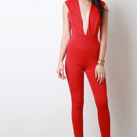 Wide V Collar Jumpsuit
