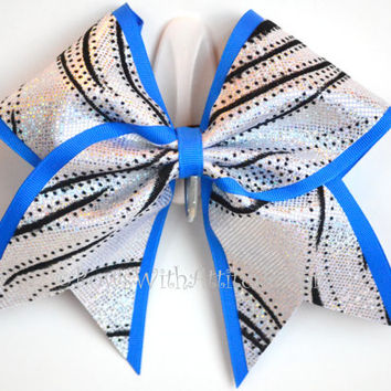 """3"""" Wide Luxury Cheer Bow - Black and Silver Swirl Shimmer w/Blue Trim"""