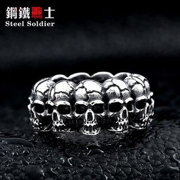 ac DCCKO2Q steel soldier stainless steel men punk skull ring vintage domineering skull 316l steel jewelry
