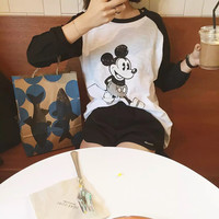 Fashion All-match Casual Multicolor Disney Cartoon Pattern Print Round Neck Long Sleeve T-shirt Tops