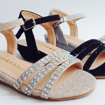 Girls Chase & Chloe Weston1K Glitter Rhinestone Open Toe T-strap Wedge Flats Heels Sandals Shoes
