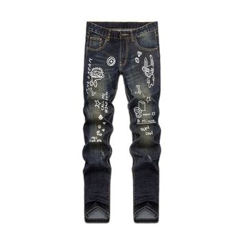 Men's Fashion Star Strong Character Print Alphabet Slim Pants Jeans [6541761923]