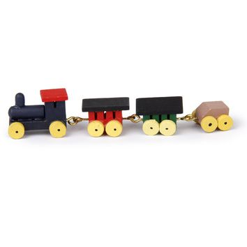 1/12 Dollhouse Miniature Cute Painted Wooden Toy Train Set Carriages Dollhouse Decoration Accessory Childhood Educational Train