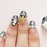 3D nails, gothic lolita, lolita nails, egl, Japanese nail art, press on nails, black french, cameo, rose, cross